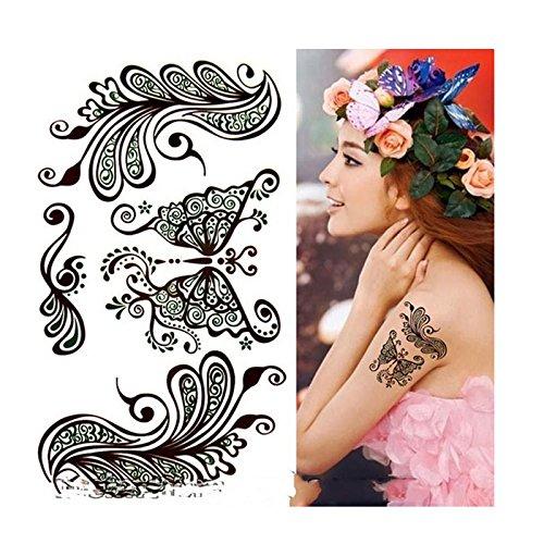 Arabic Indian Style Word Temporary Tattoos Sexy Party Black Butterfly Art Thai Floral Lip Mouth Waterproof Sticker Islamic Persian Muslim Decor Mubarak EID Ramadan EID Gift Mubarak