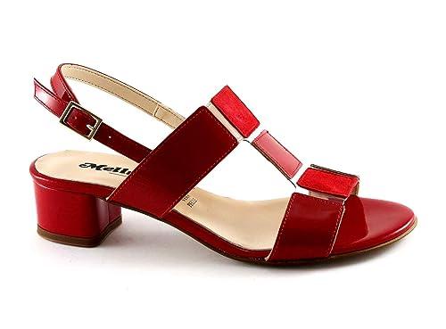 MELLUSO K35081 rosso vernice scarpe donna sandali tacco fibbia