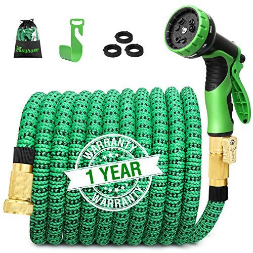 100ft Expandable Garden Hose, Expanding Water Hose with 3/4 inch Strong Solid Brass & 9 Function Nozzle , Expandable Hoses No-kink Leaking Flexible Lightweight Gardening Hose Outdoor Yard Hoses by EASYHOSE