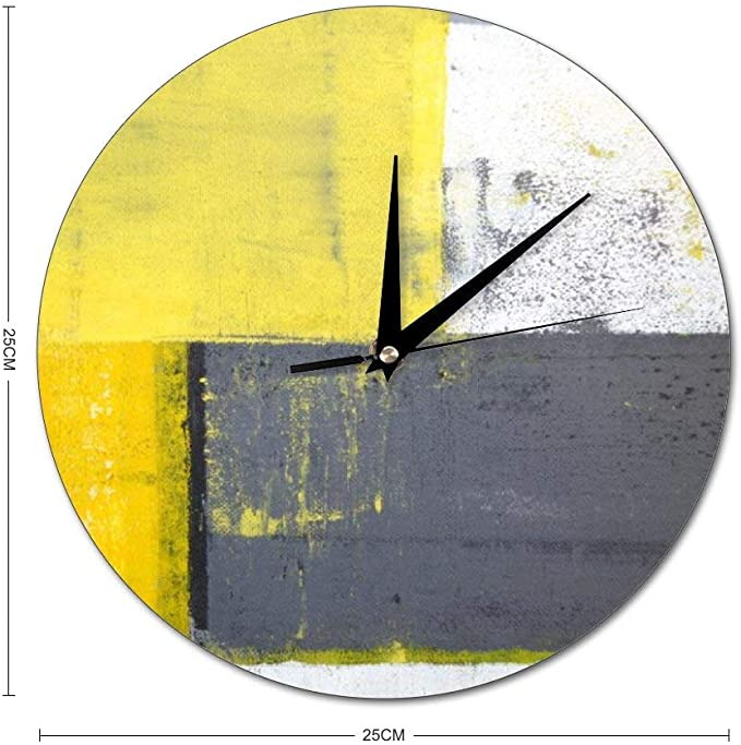 Mesllings Scale Free Wall Clocks Abstract Painting Design With Yellow Grey And White Round Glass Wall Clock Wall Decor Clocks For Kitchen Office Retro Hanging Clock Home Decor Accessories Home Kitchen Amazon Com