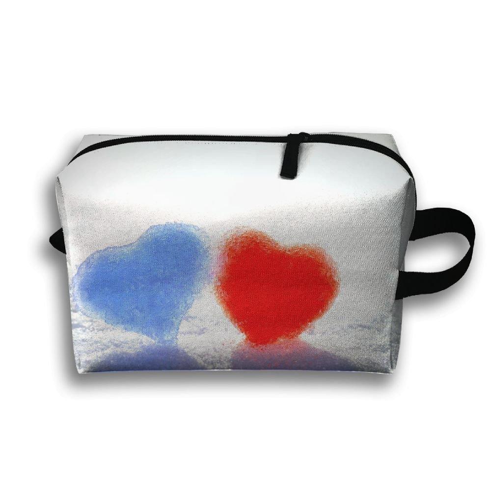 Love Heart Snowland Cosmetic Bags Makeup Organizer Bag Pouch Zipper Purse Handbag Clutch Bag
