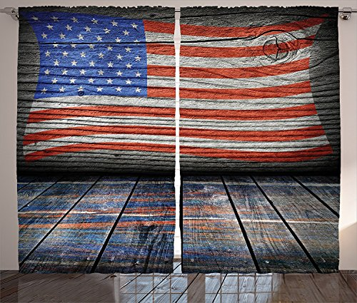 Rustic Decor American Usa Flag Curtains Fourth Of July Independence Day Wooden Looking Floor Log View Wall Rippled mage Living Room Bedroom Decor 2 Panel Set Review