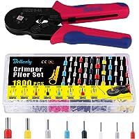 Bellaely Krimptang met 1800 stuks kabelschoenen Tool Kit 0,25-10 mm² kabelschoentang voor geïsoleerde en niet…