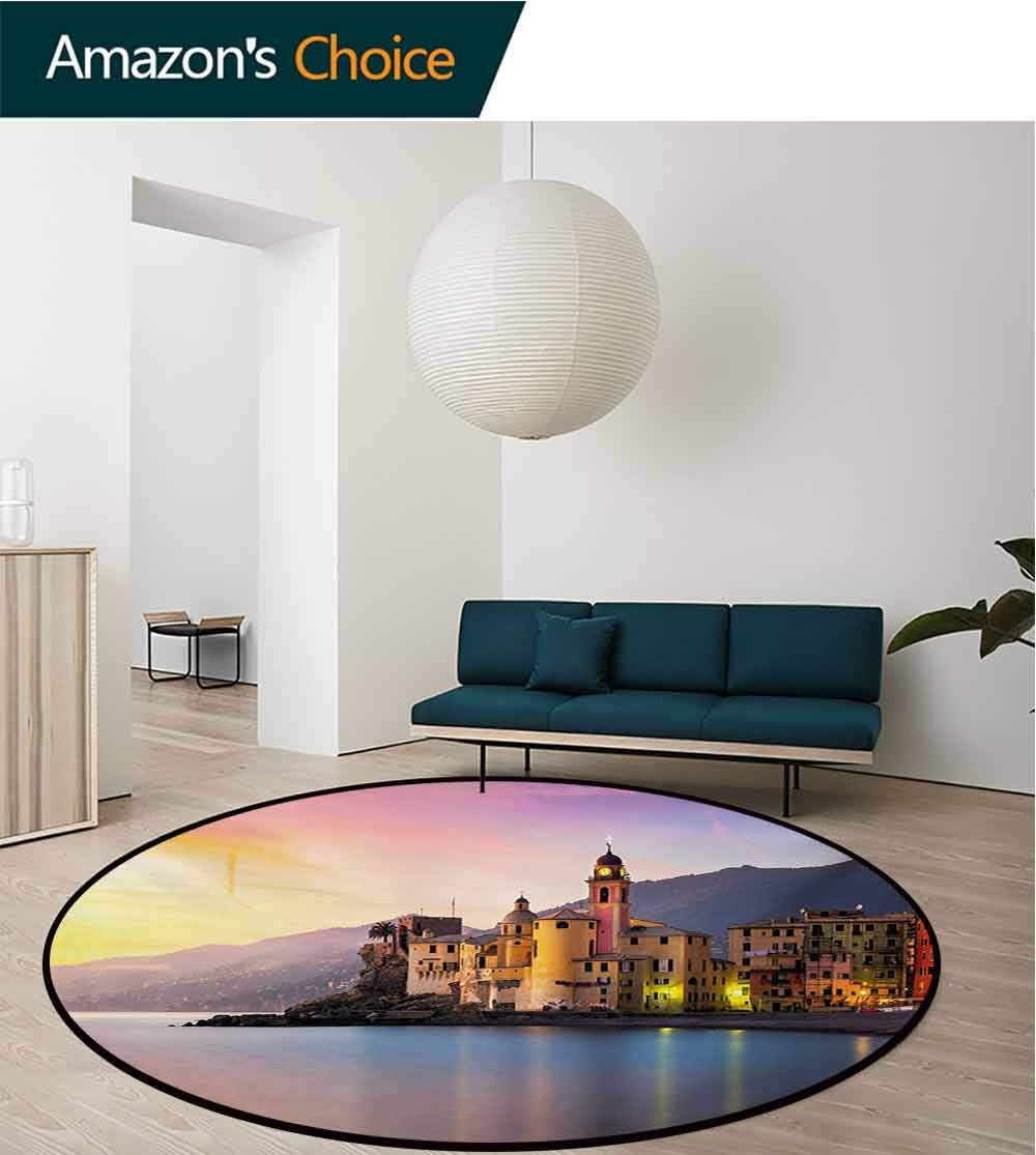 RUGSMAT Cityscape Modern Machine Round Bath Mat,Old Mediterranean Town Camogli of Italy at Sunrise Colorful Scenic Landscape Non-Slip No-Shedding Kitchen Soft Floor Mat,Round-31 Inch