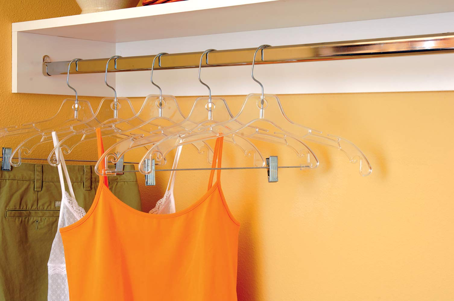 Sturdy Clear Plastic Top Hanger,  Box of 100 Durable Space Saving Hangers w/ 360 degree Chrome Swivel Hook and Notches for Shirt or Dress by The Great American Hanger Company by The Great American Hanger Company (Image #4)