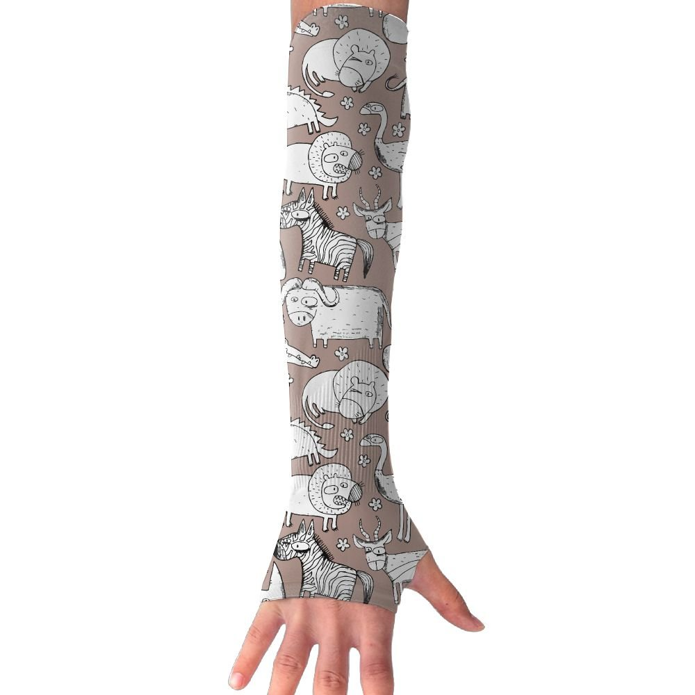 Unisex Giraffe Elephant Crocodile Zebra Sunscreen Outdoor Travel Arm Warmer Long Sleeves Glove