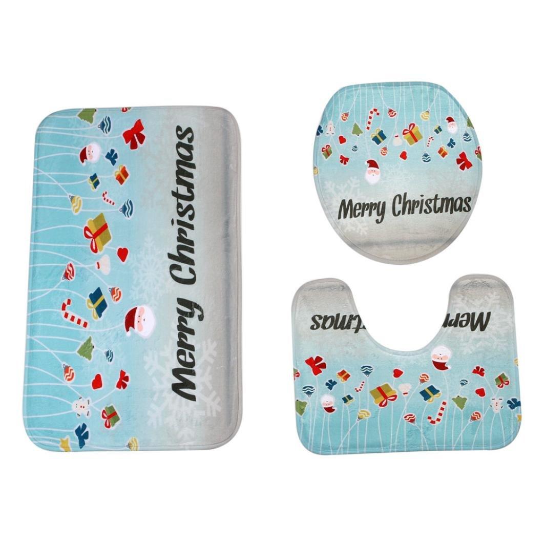 New Arrivals!! Christmas Toilet Mat,Lelili Christmas Style Festive Cartoon Toilet Pad Bathroom Rug Sets Home Decor (E)