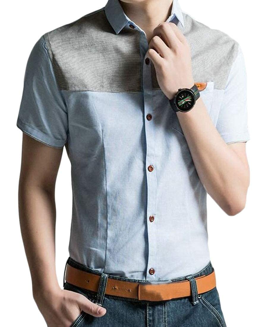 Cromoncent Mens Casual Color Block Oxford Short Sleeve Button Up Shirts