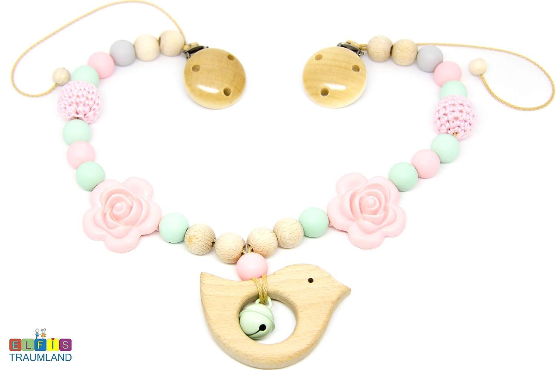 Kinderwagenkette // Silikon // Blume rosa mint natur // Holzfigur // Mädchen