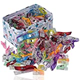 RAGNAROS Multipurpose Sewing Clips For Quilting Crafting With Tin Box Assorted Colors 110 Pack 2 Size100 Small 10 Large