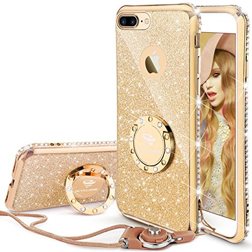 iPhone 7 Plus Case, iPhone 8 Plus Case, Glitter Cute Phone Case Girls with Kickstand, Bling Diamond Rhinestone Bumper Ring Stand Thin Soft Protective iPhone 7 Plus/ 8 Plus Case for Girl Women - Gold
