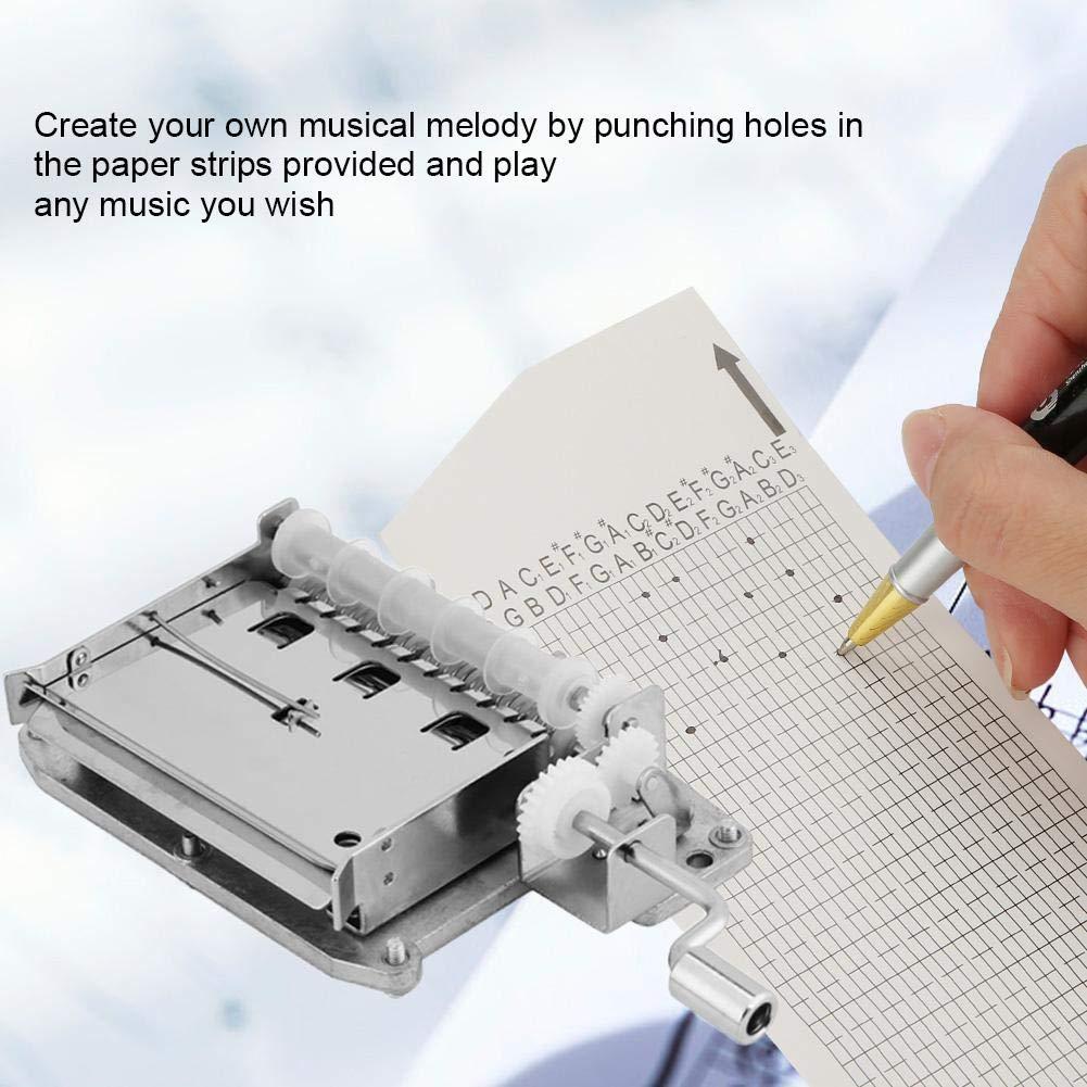 Cajas de Música de Manivela Cajas Musicales de 30 Nota Movimiento Kit de Caja de Música con Perforadora y 20 Papeles de Música DIY Regalo para Navidad Año ...