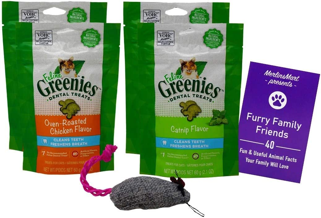 Feline Greenies Dental Crunchy Treats for Cats 2 Flavor 4 Pouch Variety Pack | (2 Each): Catnip, Oven Roasted Chicken (2.1 Ounces) | Plus Catnip Toy and Fun Animal Facts Booklet Bundle