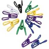 QFKR 32Pcs Premium Multi-purpose Clothesline Utility Clips, Steel Wire Clips by (Assorted Colors)
