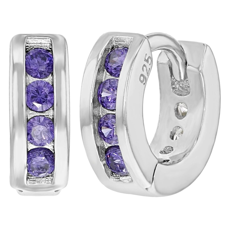 In Season Jewelry - 925 Plata de Ley Aretes Circonitas Moradas para Niñas Pequeñas 7mm