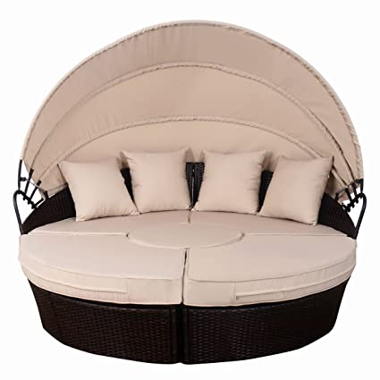 Ordinaire Patio Mix Brown Rattan Wicker Outdoor Sofa Furniture Round Retractable  Canopy Daybed For Relax Allblessings