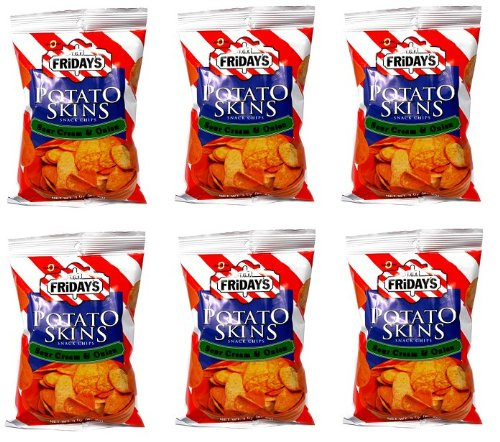- TJ T.G.I Friday's Potato Skins Snack chips Sour Cream & Onion 0 Trans Fat 6 Bags Of 3 OZ