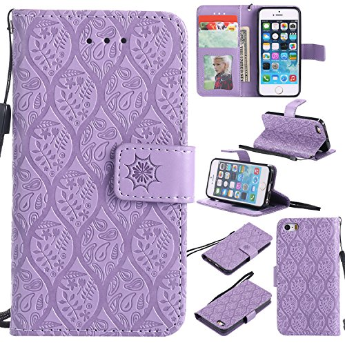 HAOTP iPhone SE 5S 5 Wallet Case,iPhone 5S Flower Case, Flip Case Wallet Leather Emboss Mandala Rattan Flower Magnetic Protective Purse Cover with Card Slots for iPhone SE 5S 5 Purple