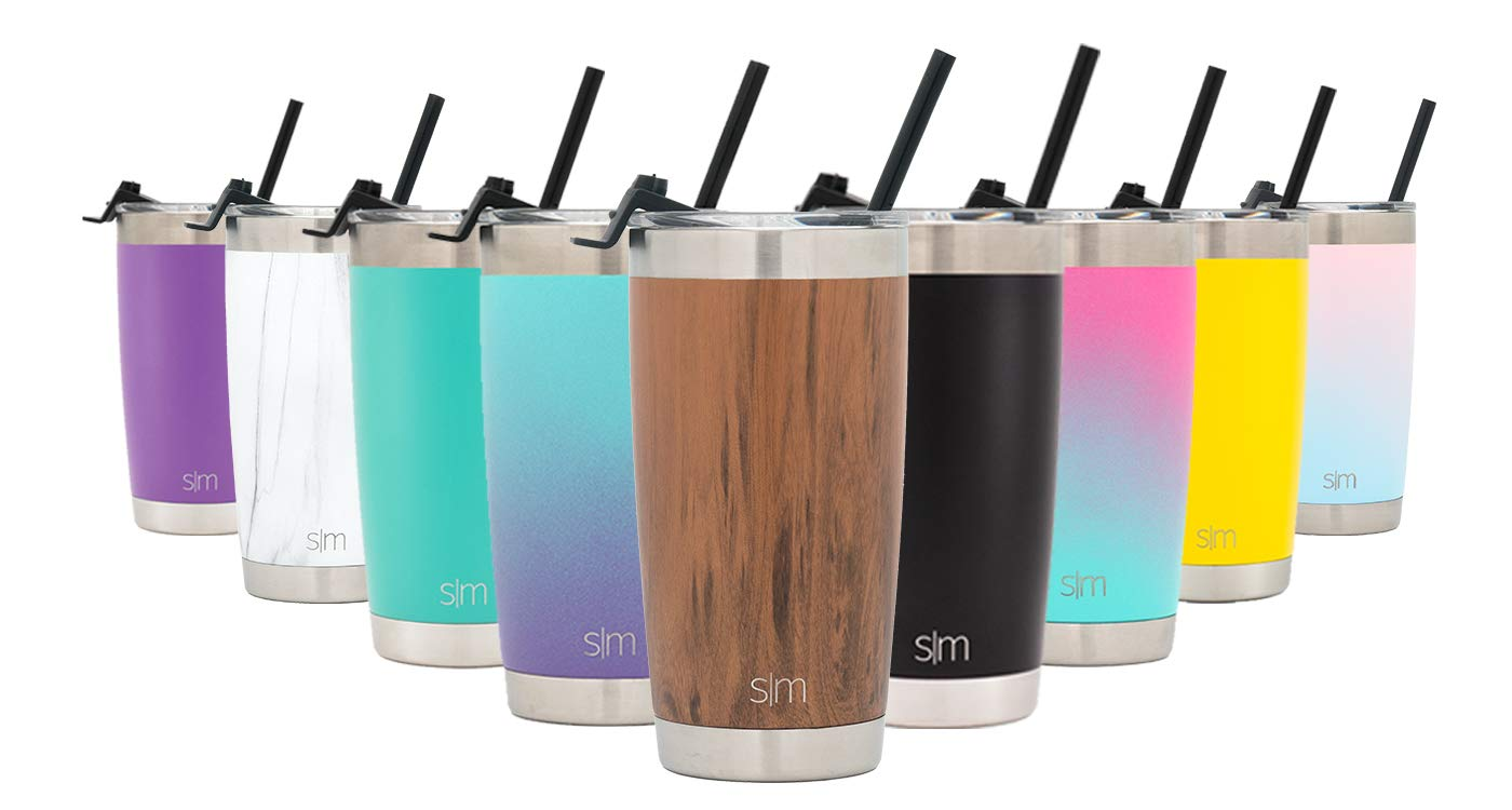 Simple Modern 20oz Cruiser Tumbler with Straw & Closing Lid Travel Mug - Vacuum Insulated Water Coffee Cup Double Wall - Hydro 18/8 Stainless Steel Flask Thermos - Wood Grain
