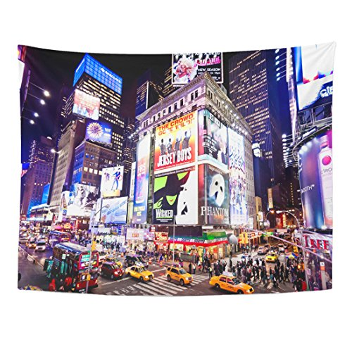 Emvency Tapestry City New York January 6 Illuminated Facades of Broadway Theaters on 2011 in Times NYC Night Street Home Decor Wall Hanging for Living Room Bedroom Dorm 60x80 Inches
