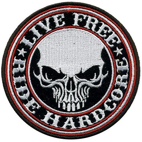 Patch biker Craneo 'Live Free Hardcore' AMT CUSTOM 37/PT-01SK