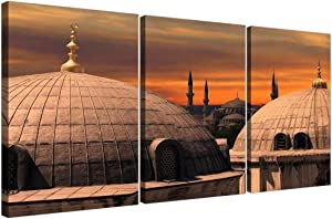 DCVFG 3 Piece Wall Art for Bedroom Decor,Stretched and Framed Ready to Hang,Islamic Blue Mosque,3 Piece Wall Decor,3 Panel Artwork for Walls,3 Set Picture Wall Art,Creative Gift,16