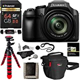 Panasonic FZ80 Lumix 4K Long Zoom Camera, 18.1 MP, F2.8-5.9, Power O.I.S with 3'' LCD + Polaroid 64GB + Camera Bag + Tripod and DC-FZ80K Accessory Bundle