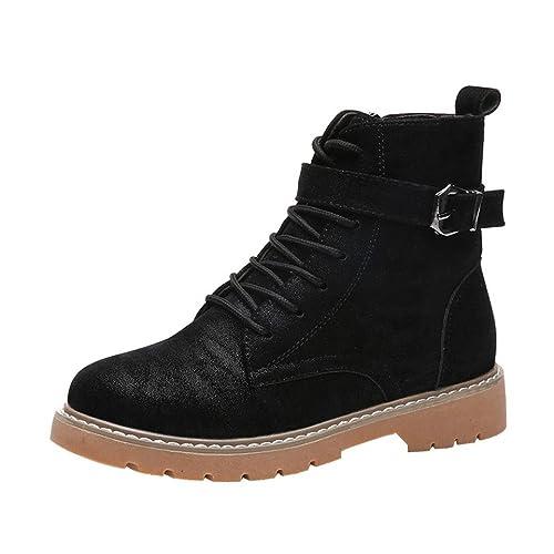 23f35eced Zapatillas para Mujer Botas Planas de Cuero con Cordones y Punta Redonda  para Mujer con Cordones Ocasionales Martin Zapatos  Amazon.es  Zapatos y ...