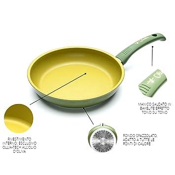 ILLA - Sartén antiadherente al aceite de oliva, 100% fabricada en Italia, 28 cm de diámetro: Amazon.es: Electrónica