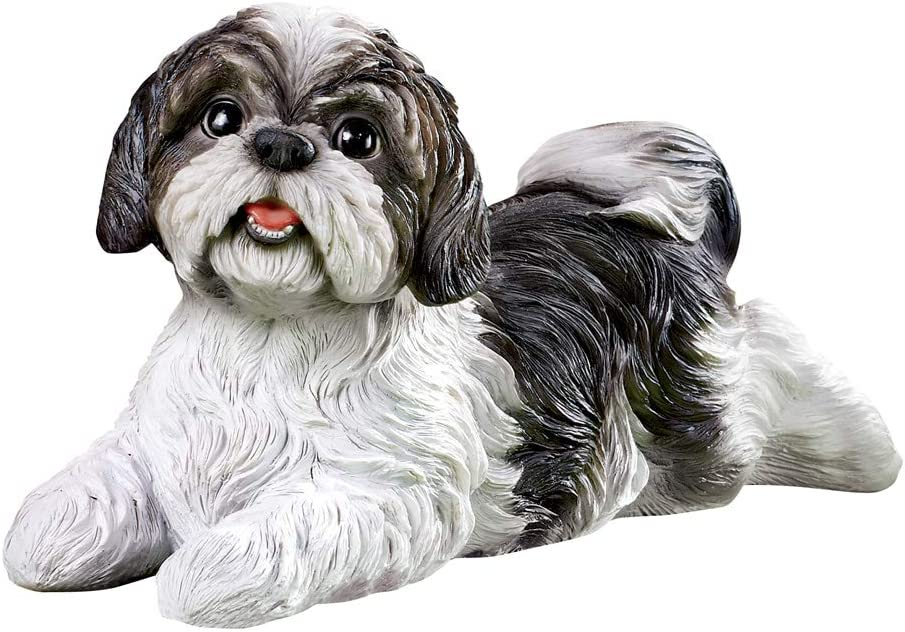 Collections Etc Shih Tzu Garden Figurine - Realistic Textured Figurine for Yard, Porch, or Any Room in Home, Black and White