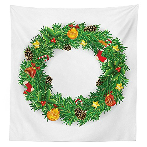 Christmas Decorations Tablecloth Wreath Evergreen with Candy Cane Stockings Mistletoe Red Berry Front Door Decor Dining Room Kitchen Rectangular Table Cover Christmas Wreath Handprints