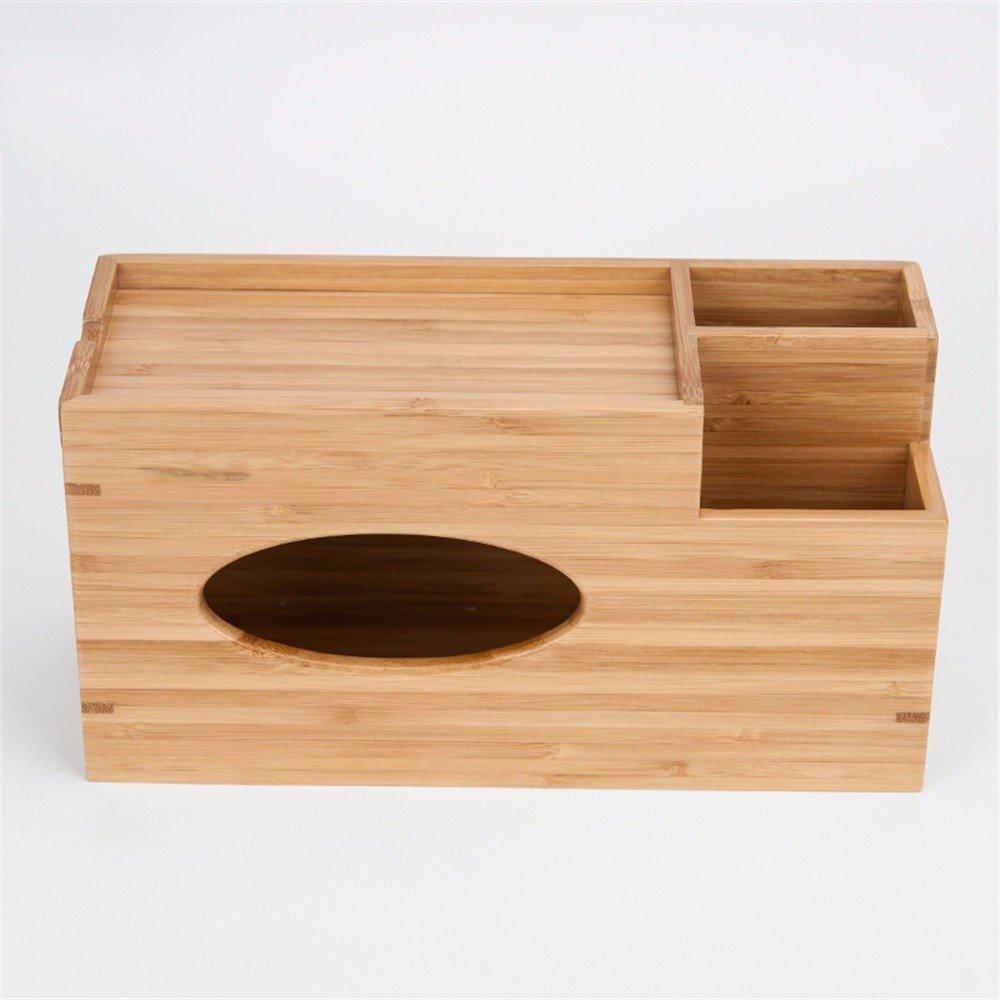 LOSTRYY Bamboo Solid wood tissue box multi-purpose napkin Tray