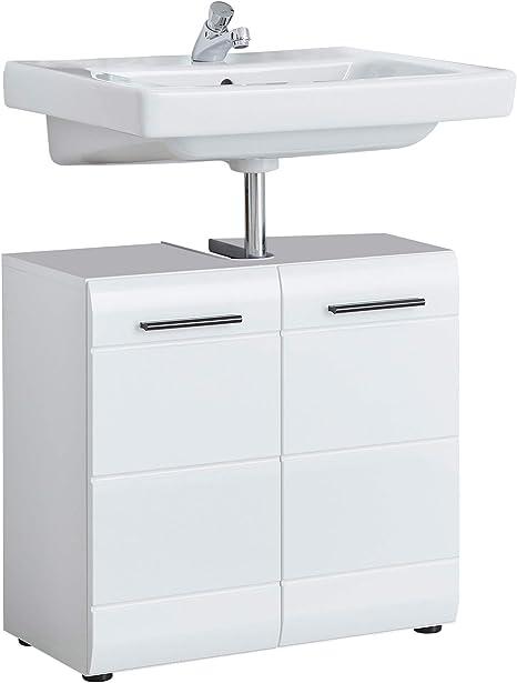 Trendteam Smart Living Badezimmer Waschbeckenunterschrank Unterschrank Skin Gloss 60 X 56 X 31 Cm In Weiss Hochglanz Mit Siphonausschnitt Amazon De Kuche Haushalt