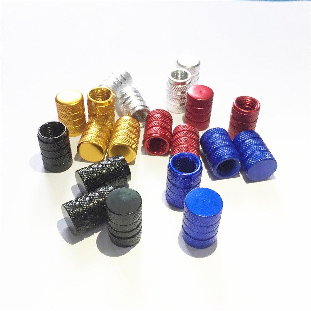 Huaze Ventilkappen 20 Stü ck (4 x rot, 4 x blau, 4 x golden, 4 x silber, 4 x schwarz)
