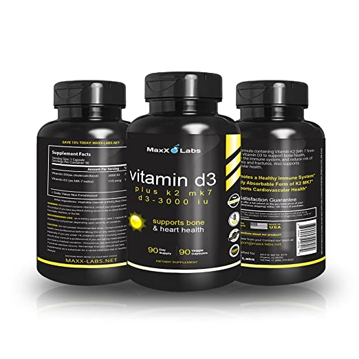 Amazon.com: Vitamin D3 K2 MK-7 Supplements ☆ New ☆ Full 3,000 IU Per Capsule Plus 115mcg MK7 from Natto - Natural, Effective - Vitamin K2 Supports Bone ...