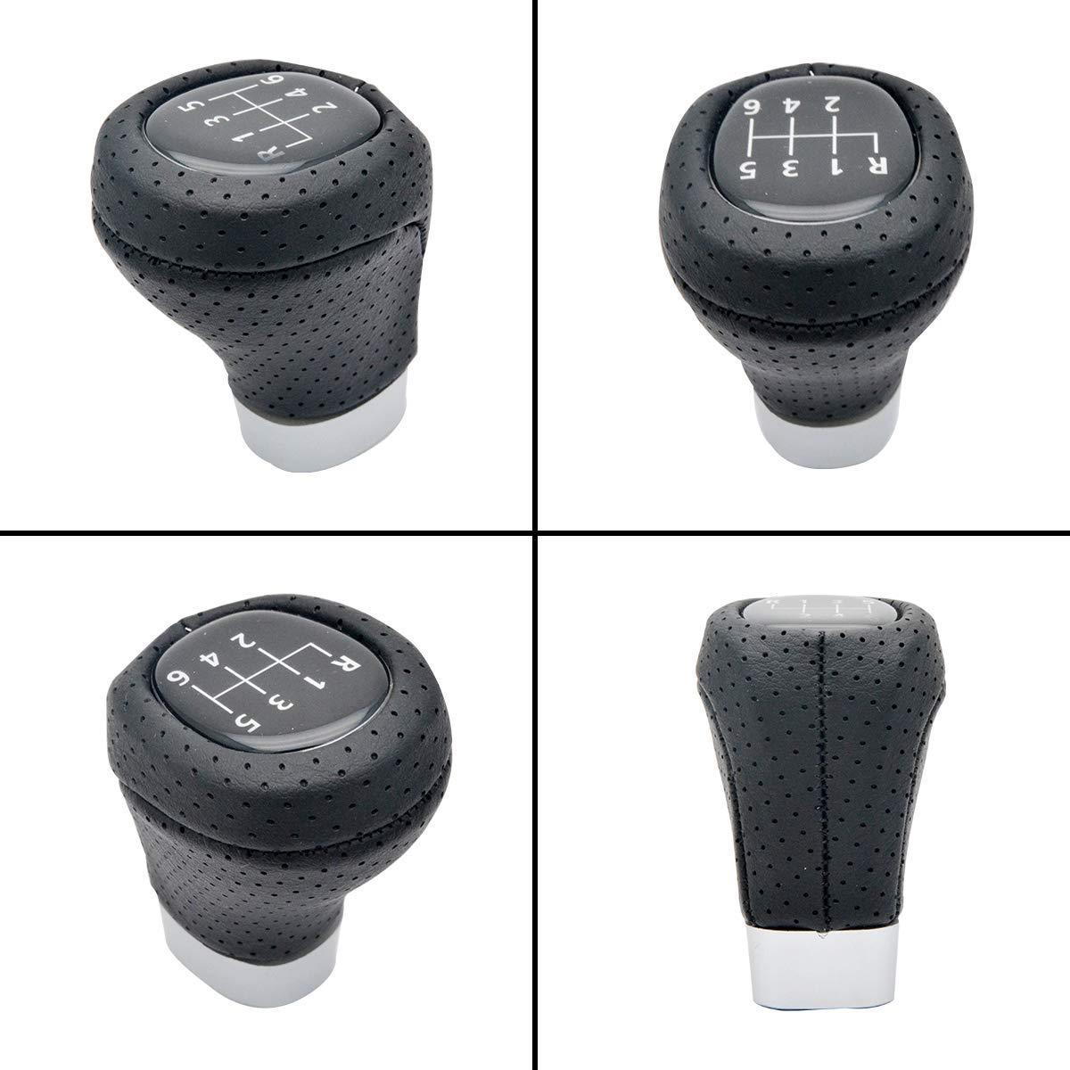 Maso 6 Gang Geschwindigkeit schaltknauf knauf Perforiert Echtes Leder Fit F/ür Bmw E46 E60 E87 E90 E92