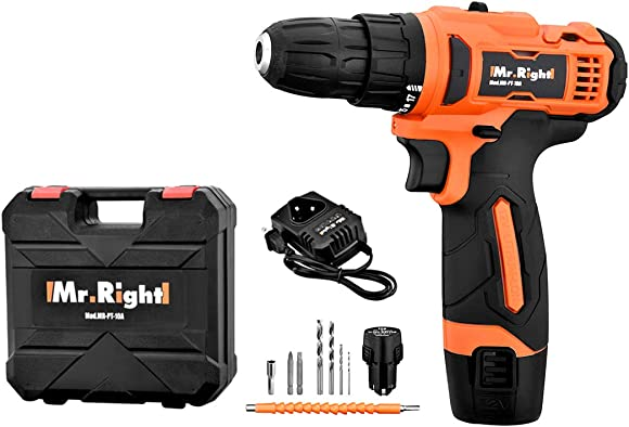 Mr Rudolf 12V Max Lithium-Ion Cordless Variable Speed Drill Driver Combo Kit with LED light and 2 bits Battery with Quick Charger