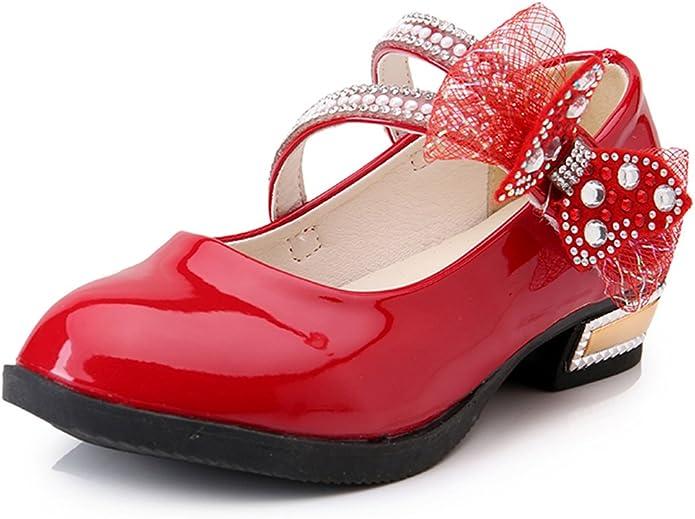 Veribuy Children Girls Flower Shoes Platform Dress Shoes Red//Pink//Black