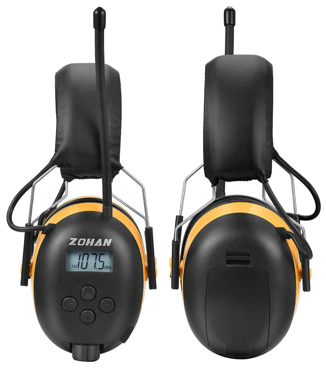 ZOHAN Digital AM/FM/MP3 Radio Earmuff, Noise Reduction Hearing Protector For Mowing, Snowmobiling, Sporting Events (Yellow) by ZOHAN (Image #4)
