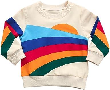 Yannerr Bebé niña nino Iris estampada cuello redondo camiseta tops sudadera vestido recién nacido manga larga blusa suéter chaqueta camisa falda mono partes de arriba pijamas traje ropa (18M): Amazon.es: Ropa y