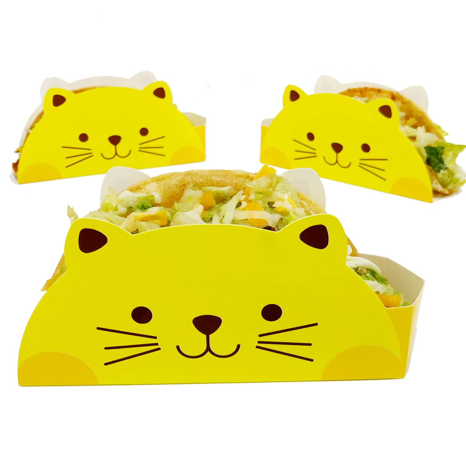 Cat Taco Holder by KitchNX, Ideal For 6'' Taco Shells, 50 Count, Great for Taco Tuesday, Birthday, Food Truck or Party Supplies - Disposable Coated Food Safe Paperboard by KitchNX