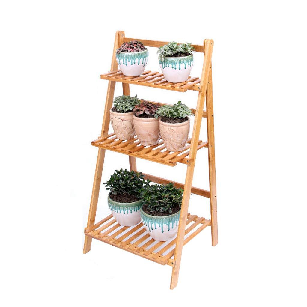 CXQ Home Bamboo Flower Stand Indoor Living Room Piano Pieghevole Flower Stand Pianta in Vaso Balcone Flower Pot Holder