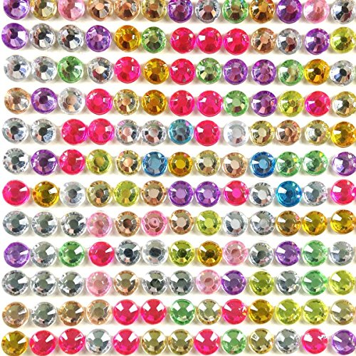 500 Piece Crystal - Wrapables 6mm Crystal Diamond Adhesive Rhinestones, 500 Pieces, Multi-Colo