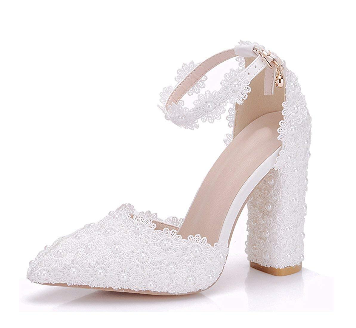 ZHRUI Frauen Spitze Blaumen besetzt Chunky High Heel Heel Heel Weiß Braut Hochzeit Schuhe UK 4.5 (Farbe   -, Größe   -) 471985