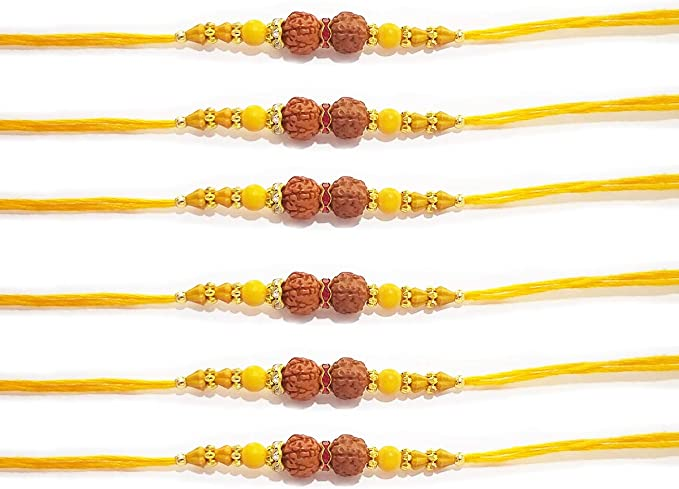 WhopperIndia Set of 3 Three Center Rudraksha and Beads Traditional Rakshabandhan Rakhee Bracelet Color and Design May Vary