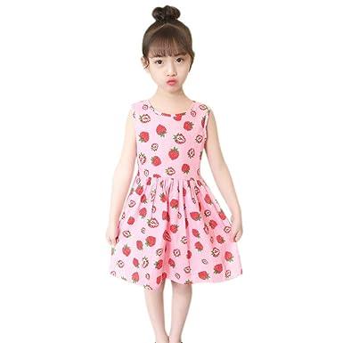 3c48ba89f30c Hougood Girls Summer Dress Printed Princess Dress Sleeveless Kids Dresses  Casual Dress Age 3-13 Years Old Fruits Pattern Cotton Dress  Amazon.co.uk   ...