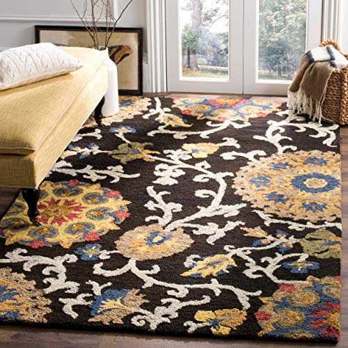 Safavieh Blossom Collection BLM401A Handmade Floral Vines Charcoal and Multi Premium Wool Area Rug (4' x 6') ()