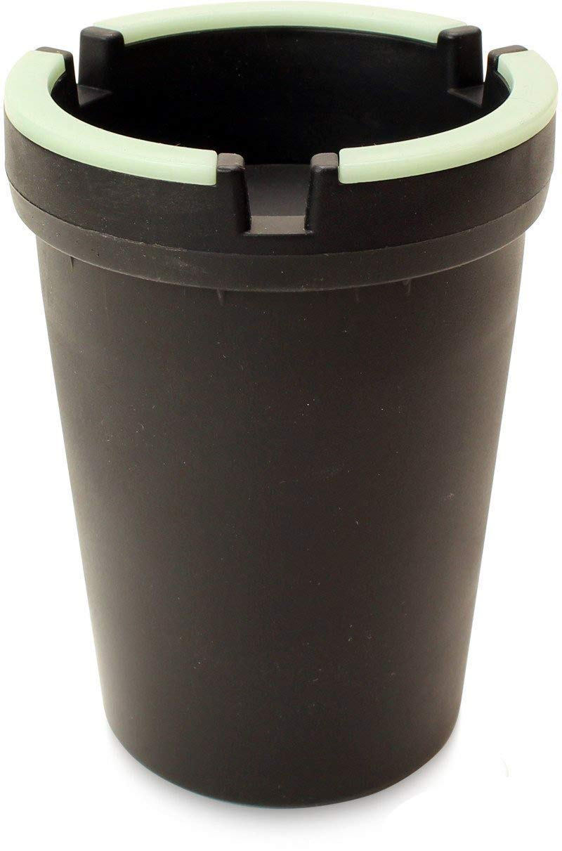 VIP Home Essentials Stub Out Glow in The Dark Cup-Style Self-Extinguishing Butt Bucket Ashtray Black, Regular