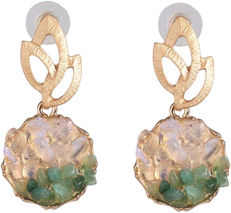 Erin Earring Joyería De Moda Pendientes De Incrustaciones De Piedra Verde Natural Pendientes De Hoja De Metal Dorado Sra. Regalo