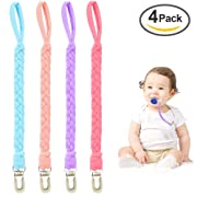 Pacifier Clip for Girls and Boys, Universal Baby Teething Ring Pacifier Holder, Flexible Braided Pacifier Leash for All Pacifiers,Teething Toy or Soothie (Pack of 4 PCS Pink/Blue/Rose Red/Purple)